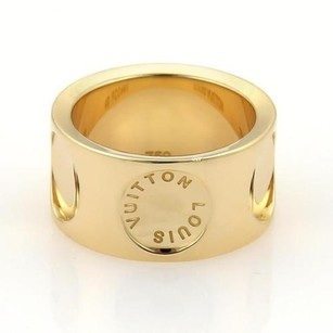 Louis Vuitton Louis Vuitton Impreinte 18k Yellow Gold 10mm Wide Band Ring 49 5.25