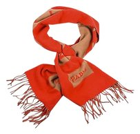 Louis Vuitton Louis Vuitton Red Tan Logo Fringe Oblong Baroda Rectangle Scarf