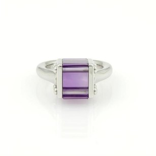 Louis Vuitton Louis Vuitton Unique 18k White Gold 9ct Amethyst Box Shape Cocktail Ring Wbox