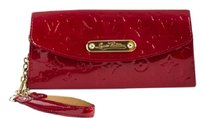 Louis Vuitton Patent Leather Gold Detail Luxury Red Clutch