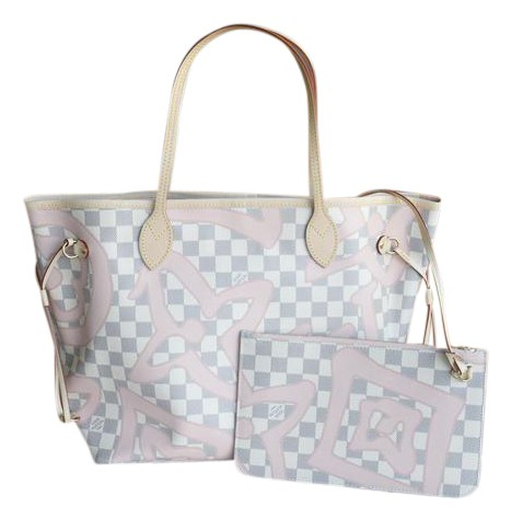 louis vuitton neverfull white. louis vuitton neverfull mm rose ballerina tahitienne limited edition azur tote in damier white
