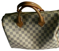 Louis Vuitton ***reserved *** Damien Azur Sped 25 . Satchel in Tan leather handles, dark blue and beige squares thru out satchel.