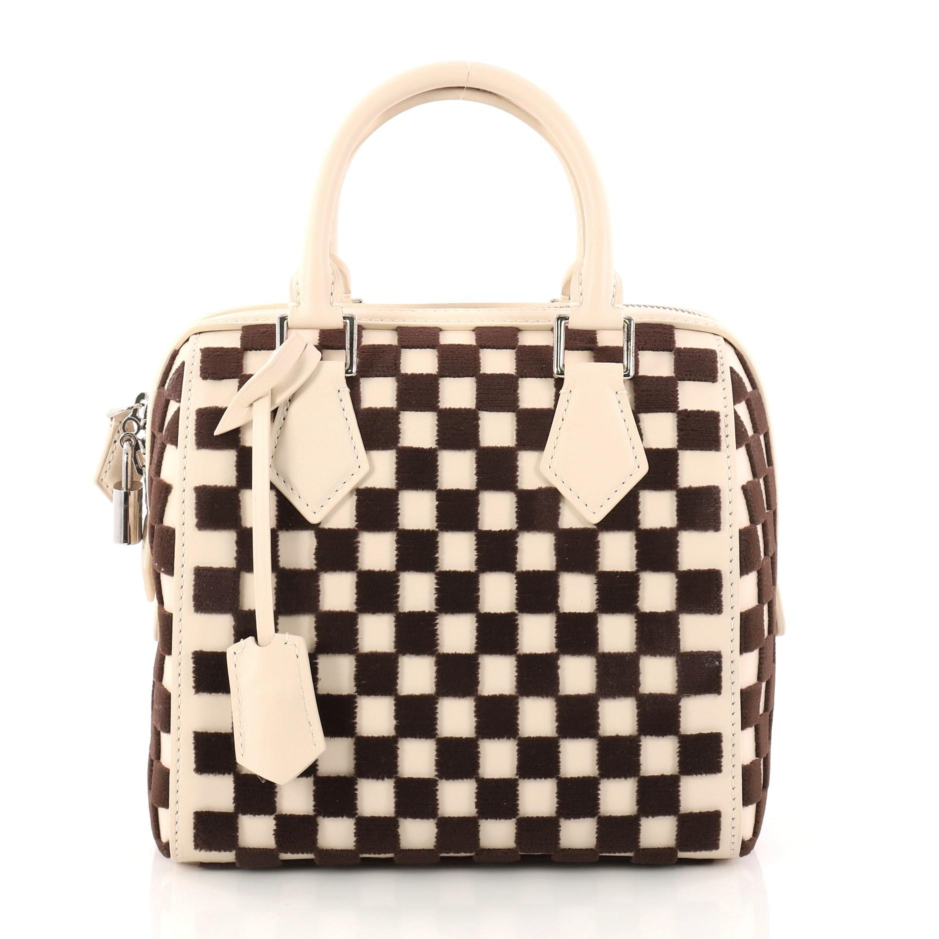 Louis Vuitton Speedy Cube Bag Damier Cubic Leather And Velvet Pm ye62v