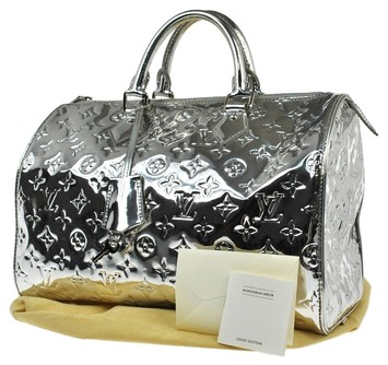 Louis vuitton monogram miroir silver speedy 35 hand bag for Monogram miroir