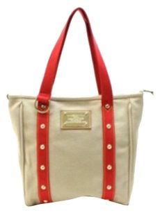 Louis Vuitton Tote in Beige/ Red