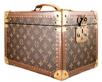 Louis Vuitton Trunk Beauty Case Cosmetic Case Vintage Brown Travel Bag