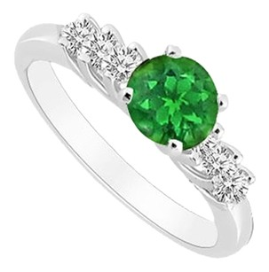 LoveBrightJewelry Sterling Silver Frosted Emerald and Cubic Zirconia Engagement Ring 0.50 CT TGW