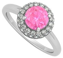 LoveBrightJewelry 0.75 CT September Birthstone Created Pink Sapphire and Cubic Zirconia Halo Engagement Ring 14K W