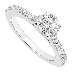 LoveBrightJewelry 1 Carat Engagement Ring in 14K White Gold Cubic Zirconia