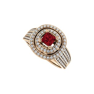 LoveBrightJewelry 1 ct tw Double Halo Ruby CZ Three Rows Ring 14K Vermeil