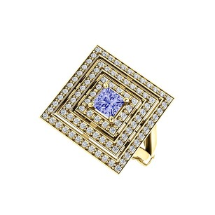 LoveBrightJewelry 1.00 Carat Tanzanite CZ Square Tripartite Halo Ring