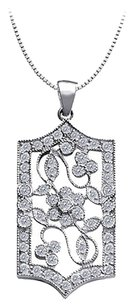 LoveBrightJewelry 1.00 carat Total Cubic Zirconia in Sterling Silver Flower Design Filigree Pendant