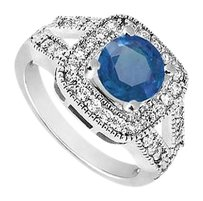 LoveBrightJewelry 10K White Gold Blue Diffuse Sapphire and Cubic Zirconia Engagement Ring 1.50 CT TGW