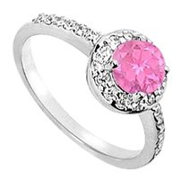 LoveBrightJewelry 10K White Gold Created Pink Sapphire and Cubic Zirconia Engagement Ring 1.50 CT TGW