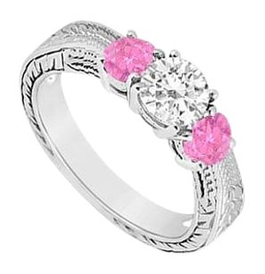 LoveBrightJewelry 10K White Gold Created Pink Sapphire and Cubic Zirconia Three Stone Ring 0.50 CT TGW