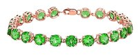 LoveBrightJewelry 14K Rose Gold Prong Set Round Emerald Bracelet 12.00 CT TGW