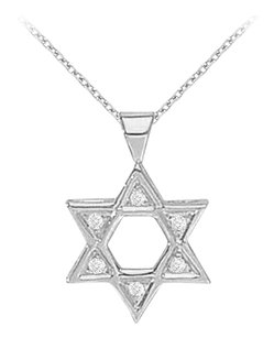LoveBrightJewelry 14K White Gold Diamond Star Pendant Necklace 0.05 CT TDW