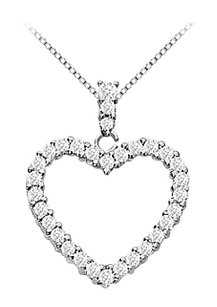 LoveBrightJewelry 14K White Gold Floating Heart Cubic Zirconia Pendant Necklace 0.35 CT CZ