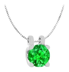 LoveBrightJewelry 14K White Gold Round Frosted Emerald Solitaire Pendant with 1 Carat Total Gem Weight