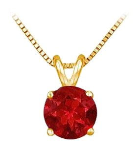 LoveBrightJewelry 14K Yellow Gold Prong Set Created Ruby Solitaire Pendant 0.50 CT TGW