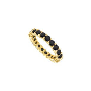 LoveBrightJewelry 14k Yellow Gold Pure Black Natural Onyx Prong Set Eternity Band 5.00 Ct Tgw