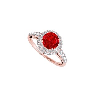 LoveBrightJewelry 1.50 Ct Ruby Cz Halo Engagement Ring Rose Gold Vermeil