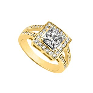 LoveBrightJewelry 1.50 Ct Tgw Cubic Zirconia Halo Engagement Rings In 18k Yellow Gold Over Sterling Silver
