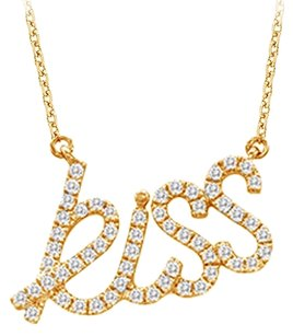 LoveBrightJewelry 18K Yellow Gold Vermeil Cubic Zirconia Kiss Pendant Necklace 0.33 CT TGW