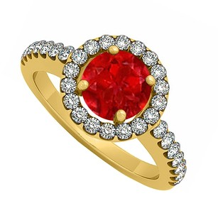 LoveBrightJewelry 18k Yellow Gold Vermeil July Birthstone Ruby And Cubic Zirconia Halo Engagement Ring