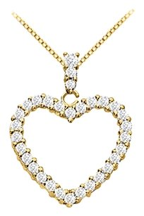 LoveBrightJewelry 18K Yellow Gold Vermeil Silver Floating Heart Cubic Zirconia Pendant Necklace 1.25 CT CZ