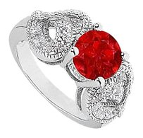 LoveBrightJewelry 2 Carat Simulated Ruby with Side CZ Heart Shape Ring.50 Carat Totaling