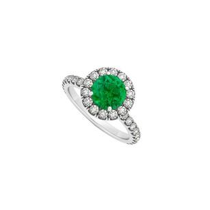 LoveBrightJewelry Round Emerald And Cubic Zirconia Halo Engagement Ring