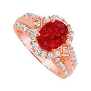 LoveBrightJewelry Ruby And Cz Halo Engagement Ring 14k Rose Gold Vermeil