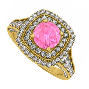 LoveBrightJewelry Created Pink Sapphire And Cz Double Halo Yellow Gold