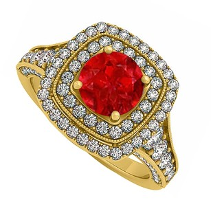 LoveBrightJewelry Created Ruby And Cz Double Halo In Yellow Gold Vermeil Engagement Ring