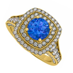 LoveBrightJewelry Created Sapphire And Cz Double Halo Yellow Gold Vermeil