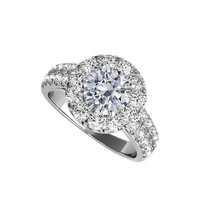LoveBrightJewelry Cubic Zirconia Halo Engagement Ring In Sterling Silver