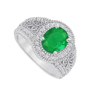 LoveBrightJewelry Emerald And Cz Filigree Ring In 925 Sterling Silver