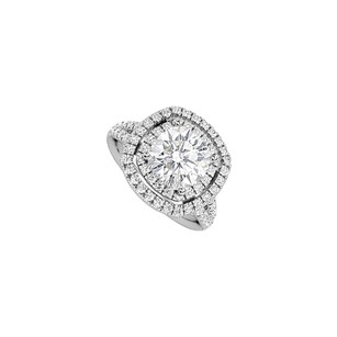 LoveBrightJewelry Split Band Cubic Zirconia Halo Engagement Ring With Big Cz
