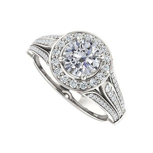 LoveBrightJewelry Split Shank Halo Engagement Rings With Cubic Zirconia In Sterling
