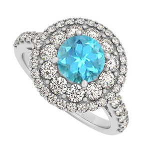 LoveBrightJewelry Bluetopaz Cz Halo Engagement Ring In Sterling Silver