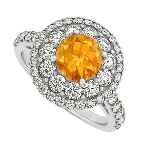 LoveBrightJewelry Citrine And Cz Halo Engagement Ring In Sterling Silver
