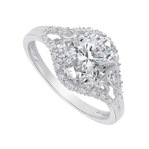 LoveBrightJewelry Cool Cubic Zirconia In 14k White Gold Split Shank Ring