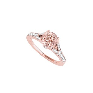LoveBrightJewelry Cool Morganite And Cz Split Shank Ring In 14k Rose Gold