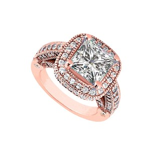 LoveBrightJewelry Cubic Zirconia Halo Engagement Rings In 14k Rose Gold Vermeil