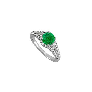 LoveBrightJewelry Emerald And Cz Split Shank Ring In Sterling Silver
