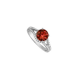 LoveBrightJewelry Garnet And Cz Split Shank Engagement Ring In Sterling Silver