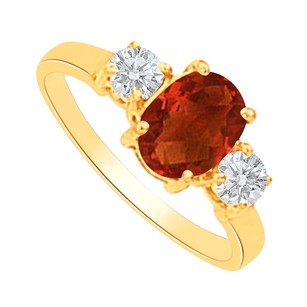 LoveBrightJewelry Garnet And Cz Three Stones Ring In 14k Yellow Gold