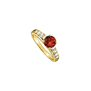 LoveBrightJewelry Gorgeous Garnet And Cubic Zirconia Ring In Yellow Gold