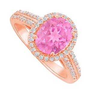 LoveBrightJewelry Halo Ring With Pink Sapphire Cz In Rose Gold Vermeil